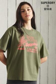 Superdry Khaki Workwear Graphic Oversized T-Shirt