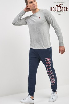 Hollister Navy Large Logo Jogger