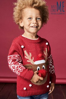 Younger Kids Reindeer Snowflake Jumper (3mths-6yrs)
