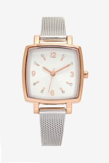 Square Case Mesh Watch