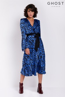 Ghost London Blue Printed Annabelle Satin Dress