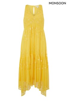 Monsoon Yellow Carmela Sustainable Embroidered Midi Dress