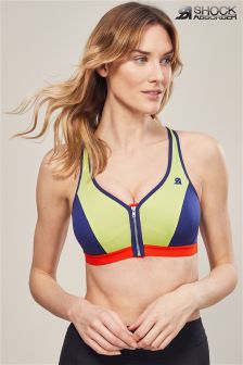 Shock Absorber Green/Grey Active Zipped Plunge Bra