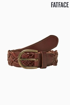 FatFace Brown Plaited Leather Belt