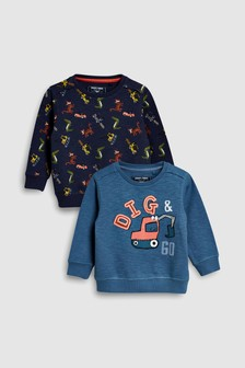Digger All Over Print Crews Two Pack (3mths-6yrs)
