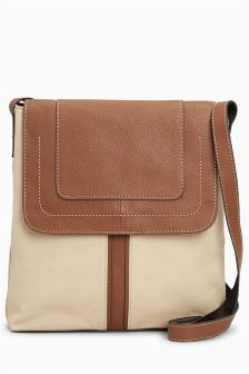 Leather Canvas Mix Messenger Bag