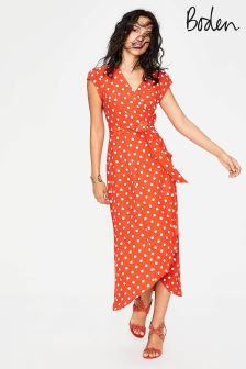 Boden Orange Antonia Wrap Dress