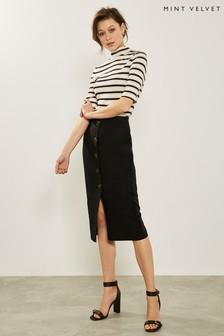 Mint Velvet Black Button Front Skirt