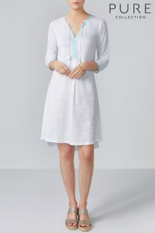 Pure Collection White Linen Jersey Tassel Neck Dress