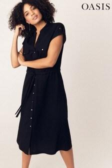 888136218a7 Oasis Black Utility Linen Look Shirt Dress