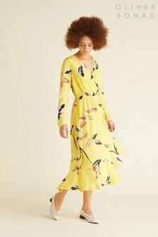 Oliver Bonas Yellow Leaf Print Dress
