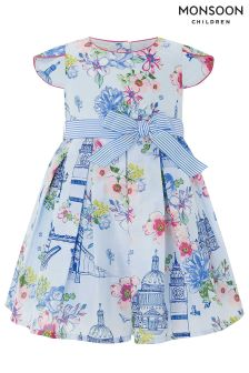 Monsoon Blue Baby London Primrose Dress