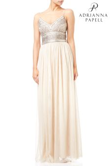 Adrianna Papell Metallic Bead Bodice Mesh Gown