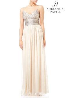 Вечернее сетчатое платье с отделкой корсажа металлическим бисером Adrianna Papell