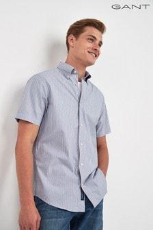 GANT Mens Tech Prep Broadcloth Stripe Short Sleeve Shirt