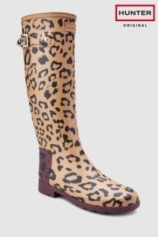 Элегантные резиновые сапоги с леопардовым принтом Hunter Tawny Original