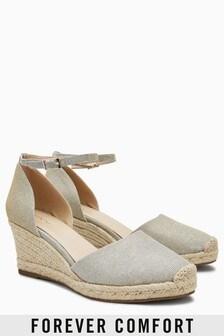 Sandalette mit Keilabsatz in Espadrille-Optik