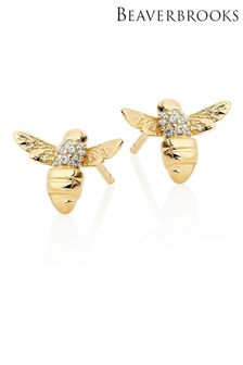 Beaverbrooks Gold Plated Silver Cubic Zirconia Bee Earrings