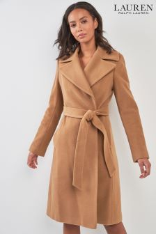 Lauren By Ralph Lauren Camel Wool Blend Coat