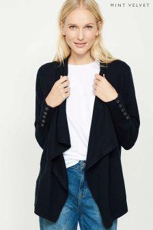 Mint Velvet Navy Lace Back Short Organic Cardigan
