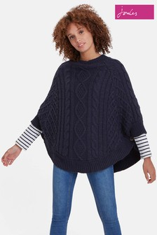 Joules Navy Claudie Chunky Cable Poncho