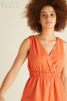 Oliver Bonas Orange Foil Cross Back Cami Top