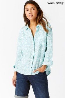 White Stuff Blue Sprig Linen Shirt