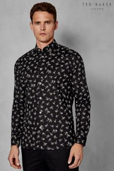 Ted Baker Black Isleov Palm Tree Printed Shirt