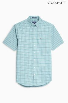 GANT Green TechPrep Broadcloth Check Regular Fit Shirt
