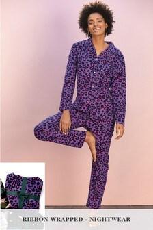 Animal Button Through Pyjamas With Ribbon Wrapping
