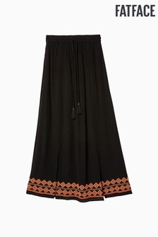FatFace Black Shoreham Embroidered Maxi Skirt