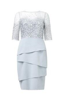 Adrianna Papell - 蓝色珠饰短款连衣裙