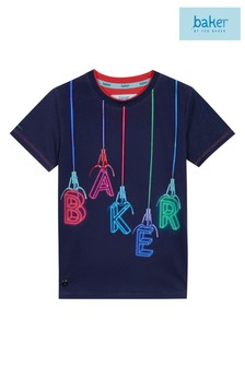 baker by Ted Baker Grabber Logo Short Sleeve Tee In Navy