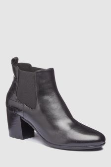 Geox New Lucinda Black Leather Chelsea Boot