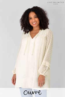 Live Unlimited Curve Ivory Check Textured Chiffon Tunic