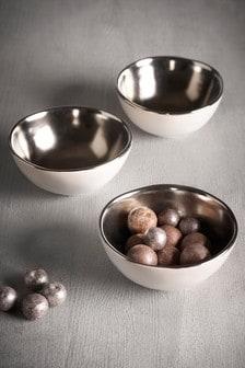 Set of 3 Silver Effect Dip Bowls
