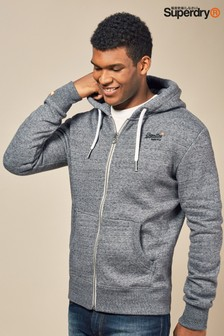 Superdry Grey Orange Label Zip Through Hoody