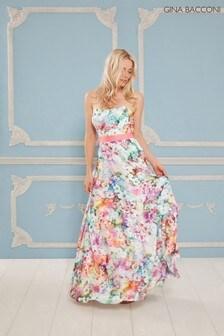 Gina Bacconi Pink Esmira Satin Floral Maxi Dress