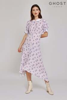 Ghost London Purple Tiggy Abstract Floral Printed Dress