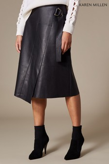 Karen Millen Black Faux Leather Wrap Skirt