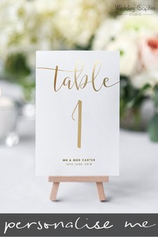 Personalised Script Foil Table Number Card by Wedding Graphics