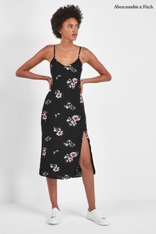 Abercrombie & Fitch Black Print Midi Dress