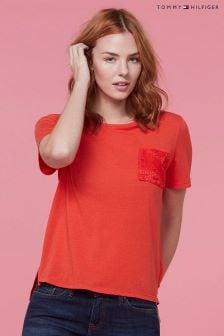 Tommy Hilfiger Orange Dilma Lace Pocket T-Shirt