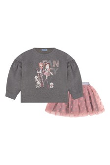 Girls Grey Sweater And Pink Tulle Skirt Set
