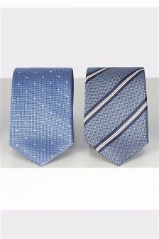 Spot And Stripe Ties Two Pack