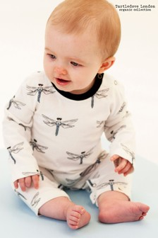 Turtledove London Cream Dragonfly Printed Babygrow