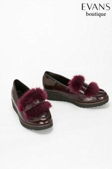 Evans Red Faux Fur Trim Loafer