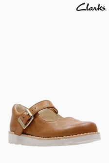 Pantofi Mary Jane din piele Clarks Crown Honour First Shoe maro