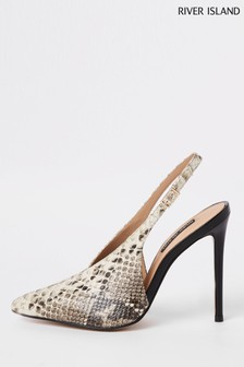 River Island Natural Snake Effect Slingback