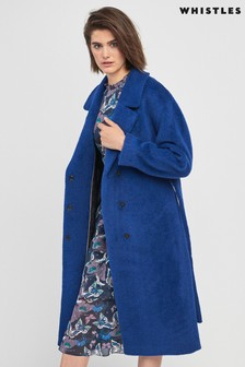Whistles Blue Wrap Coat